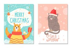 Let it Snow Poster with Bear Gift Box Cat in Hat Stock Images