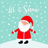 Let it snow. Santa Claus wearing red hat, costume, big beard. Cute cartoon kawaii funny character with open hand on snowdrift. Blu. E snow background. Merry Stock Photography