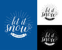 Let it snow vintage Christmas and New Year card, t-shirt design. Hipster, T-shirt, badge design. Vector illustration. Let it snow vintage Christmas and New Year vector illustration