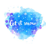 Let it snow - winter card with white snow and hand Stock Photo