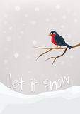 'Let it snow' - winter holidays postcard. Little bullfinch sitting on a bare brunch. Royalty Free Stock Image
