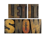 Let it Snow. The words LET IT SNOW written in vintage letterpress type royalty free stock photos