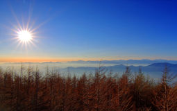 Let the sun shine. The sun shine seen from Level 4, Fuji Mountain, Japan Royalty Free Stock Image