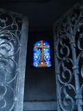Let there be light. Inside of a tomb in Paris' Pere Lachaise Royalty Free Stock Photo