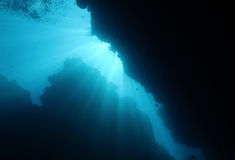 Let There Be Light. Sunbeams Breaking Through Underwater, Bunaken, Indonesia Stock Images