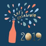 Let us celebrate 2019 Vector illustration. Lets celebrate lettering and champagne bottle with colorful drops bubbles. New Years stock illustration