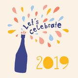 Let us celebrate 2019 Vector illustration. Lets celebrate lettering and champagne bottle with colorful drops bubbles. New Years royalty free illustration