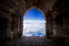 Let us explore the world. The door open to the world from old place or cave.Let us explore the world, Taking risk, open your vision, get out of cormfort zone royalty free stock photos