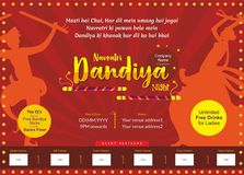 Let us fall in love with big dandiya night print ad template stock illustration