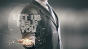 Let Us Help You Businessman Holding in Hand New technologies stock video