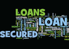 Let Us Uncover The Mystry Of Secured Loans Text Background  Word Cloud Concept Stock Image