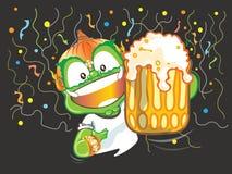 Let vont faire la fête disent des acclamations et montrer à bière la bande dessinée géante thaïlandaise Photo stock
