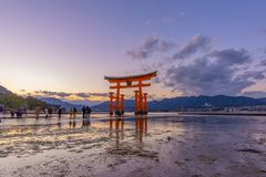 Let Walk to Itsukushima Big Red Floating Torii Gate stock image