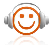 Let the world enjoy the music. Smiley icon enjoy the music 3d illustration Royalty Free Stock Photos
