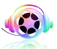 Let the world enjoying the music. Movie roll enjoying the music 3d illustration Royalty Free Stock Photo