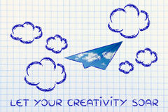 Let your creativity soar (paper airplane illustration). Paper airplane illustration with sky fill, let your creativity soar Stock Photography