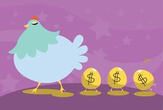 Let Your Investment Become The Hen That Lays The G. An image of a hen walking with three golden eggs having the dollar sign following her Stock Photo
