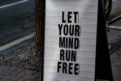 Let your mind run free sign. Detail Royalty Free Stock Images