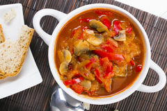 Letcho with paprika, zucchini and mushrooms. Letcho with paprika, zucchini and champignon mushroom Royalty Free Stock Photos