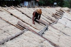 Lethek noodles drying process at Srandakan bantul. Lethek noodles or Lethek noodles are one of the culinary noodles from Srandakan, Bantul, Yogyakarta using royalty free stock images
