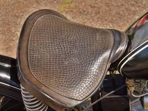Lether seat of old motorcycle, vintage show Royalty Free Stock Image