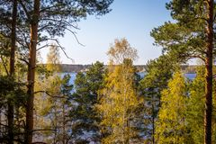 Letland, aard, zonsondergang, Auce Royalty-vrije Stock Fotografie