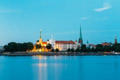 letland Het kasteel van Riga Oriëntatiepunt, President Residence op Dijk stock afbeelding