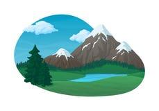 Letni dzień wiejska scena Zielone łąki i wzgórza z jedlinowymi drzewami i jeziorem royalty ilustracja
