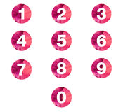 LetNumbers in Water Color Paint Circle  On White Background Stock Photos