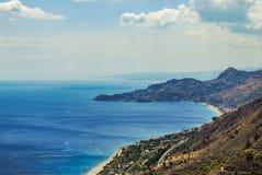 Letojanni and Taormina from Forza d`Agro. Sicily Stock Photo