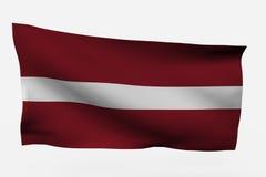 Letonia 3d Markierungsfahne Lizenzfreies Stockfoto