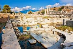 Letoon nära den forntida Lycian staden Xanthos, Turkiet Arkivfoton