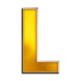 Letra aislada L en oro brillante Imágenes de archivo libres de regalías
