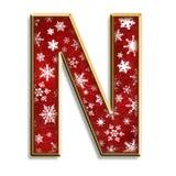 Letra aislada N de la Navidad en rojo Imágenes de archivo libres de regalías