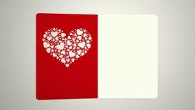 Letra animada que se abre con una cubierta del tema de la tarjeta del día de San Valentín, cantidad ideal para el día de tarjeta  ilustración del vector