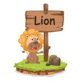 Letra animal L do alfabeto para o vetor da ilustração do leão Fotos de Stock