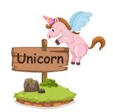 Letra animal U del alfabeto para el unicornio Fotografía de archivo