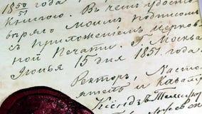 Letra antigua con el sello heráldico oficial