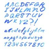 Letra azul da aquarela isolada Imagens de Stock