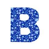 letra B de la acuarela con un modelo de flores y de hojas stock de ilustración