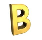 Letra B del oro 3d Imagenes de archivo