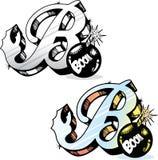Letra B do estilo do tatuagem Imagem de Stock
