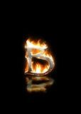 Letra b en el fuego Foto de archivo libre de regalías