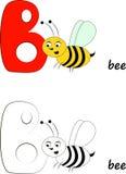 Letra B, ilustração da abelha Imagens de Stock