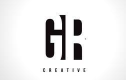 Letra blanca Logo Design de GR G R con la casilla negra Fotos de archivo