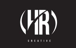 Letra blanca Logo Design de la hora H R con el fondo negro Foto de archivo