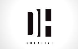 Letra blanca Logo Design del ADO D H con la casilla negra Foto de archivo