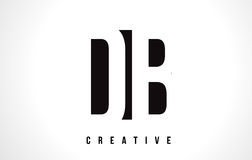 Letra branca Logo Design do DB D B com quadrado preto Imagem de Stock Royalty Free