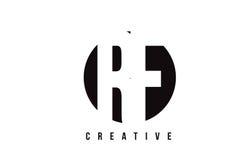 Letra branca Logo Design do RF R F com fundo do círculo Imagens de Stock Royalty Free