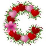 Letra C - Carta de la tarjeta del día de San Valentín stock de ilustración